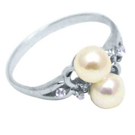 Sterling Silver – Freshwater pearl & CZ Ring - PRS015