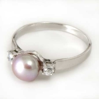 Sterling Silver - Freshwater Pearl & CZ Ring PRS035L
